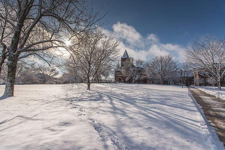 UNH's Thompson Hall in winter