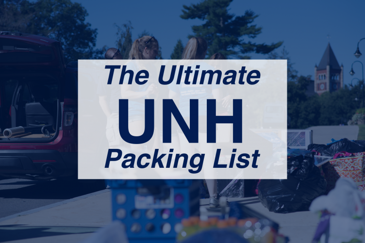 """graphical image that says """"The Ultimate UNH Packing List"""""""