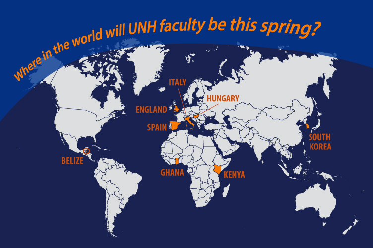 graphic showing where UNH faculty are working and studying during spring semester 2017