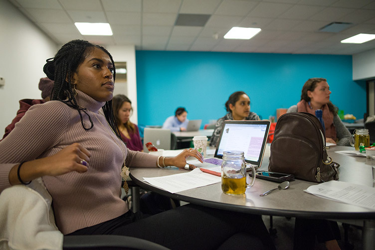 photo of Becca Barton in a class as part of internship
