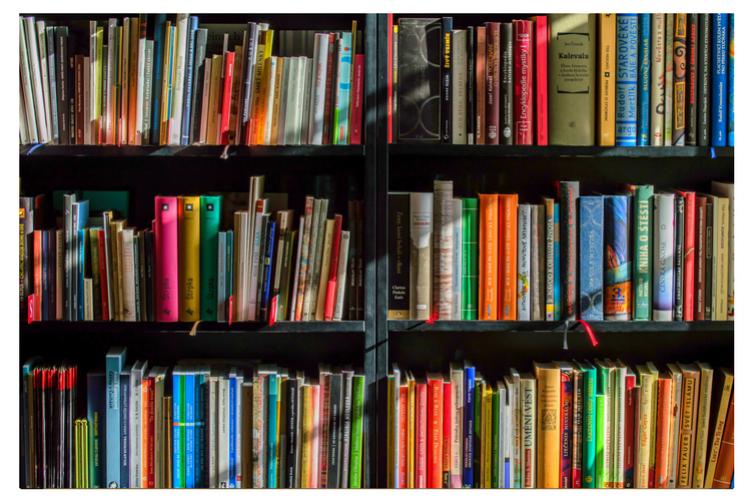 Books on library bookshelves