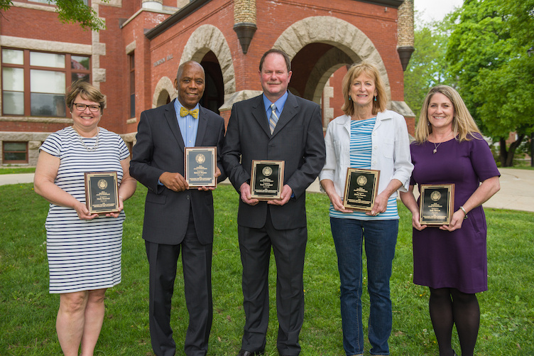 Five UNH employees who received the 2018 Presidential Award of Excellence