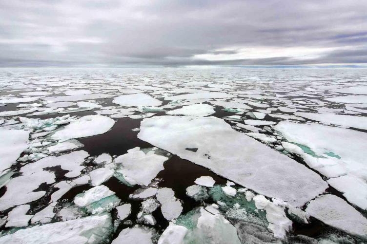 Broken ice over an Arctic sea