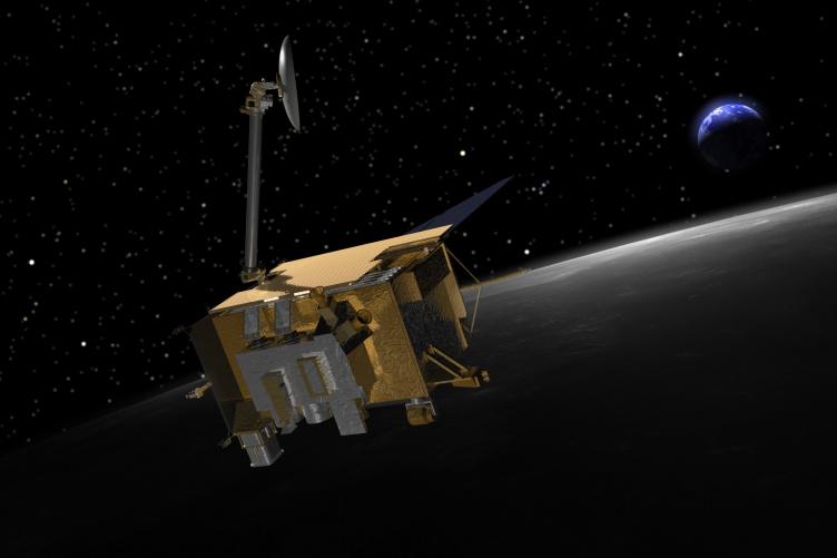 Illustration of NASA's Lunar Reconnaissance Orbiter at the moon