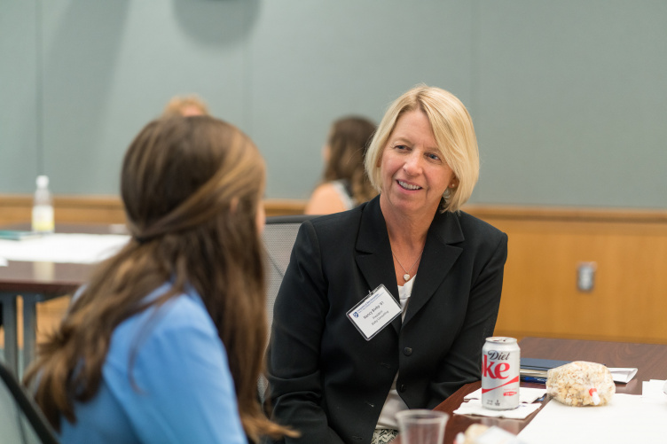 Nancy Bixby '81 at a Paul College Homecoming mentoring event in 2017