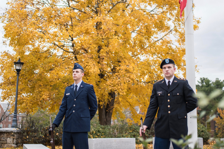 ROTC students at flagpole on Veterans Day