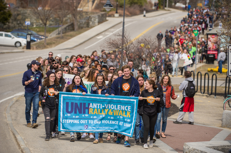 UNH community members during sexual assault prevention rally