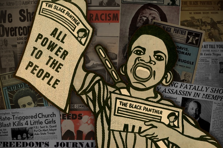 drawing of person in front of media collage holding papers with headlines All Power to the People and The Black Panther
