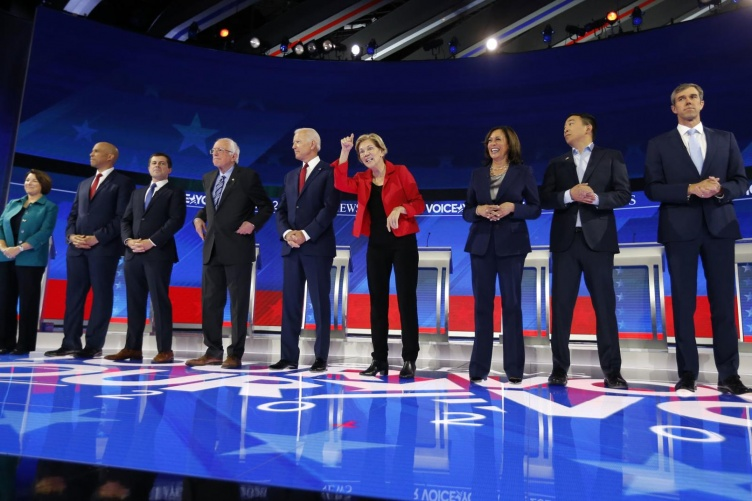 Photo showing the Democratic candidates.