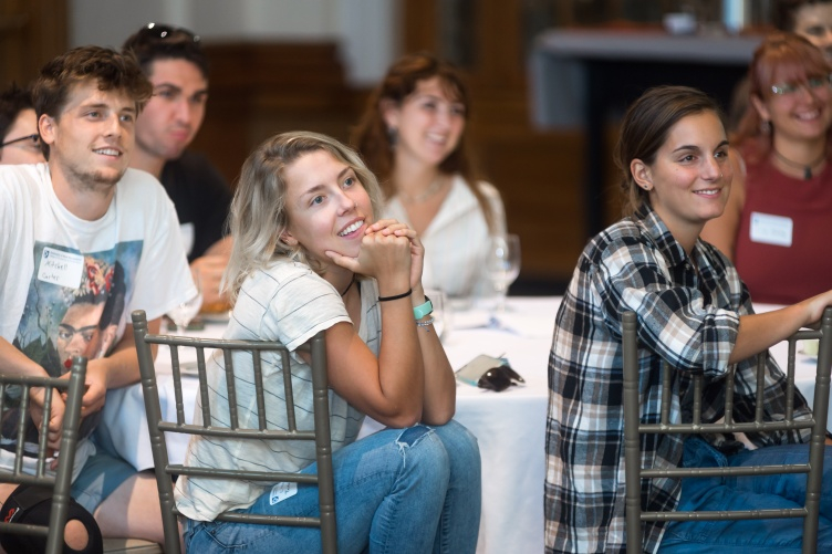 EcoQuest alumni listen to the speakers during the 20th anniversary celebration in the Huddleston Ballroom.