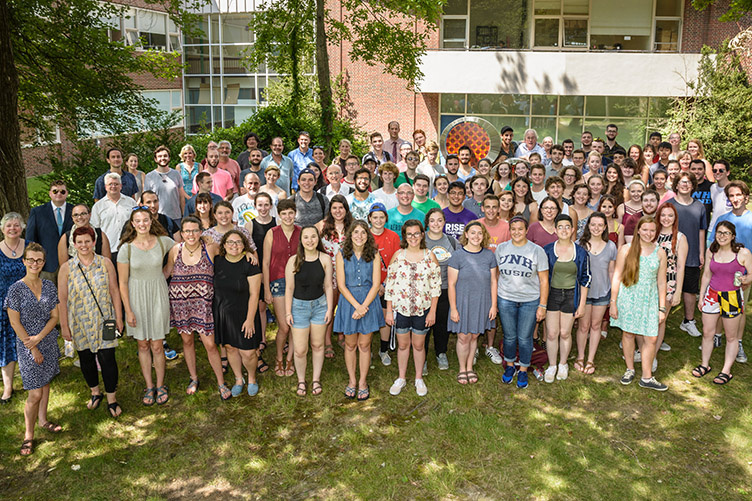 group photo of music department students, faculty and staff