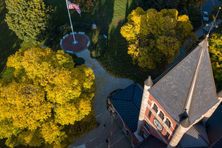 An aerial view of UNH's Thompson Hall