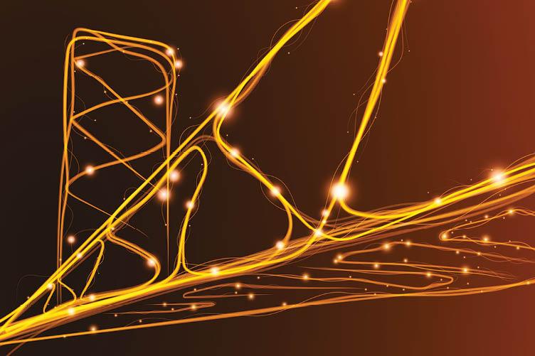 Stylized image of a bridge, as if it's electrified