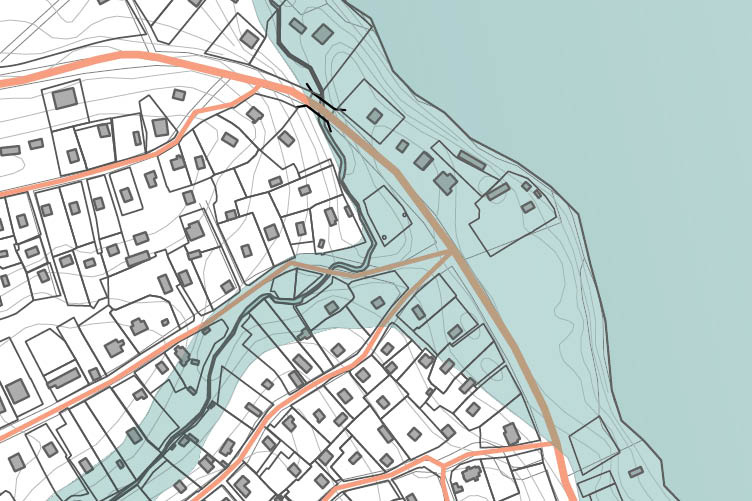 Map of coastal town