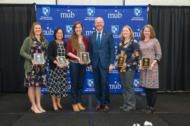 Winners of the 2019 staff excellence awards with President James Dean