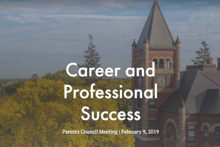 A view of Thompson Hall at UNH with the words Career and Professional Success