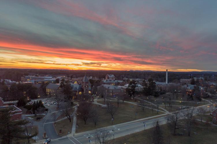 An aerial shot of campus at dusk