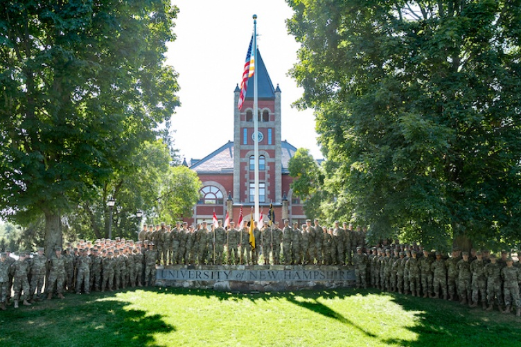 Cadets in the UNH Army ROTC program in front of T Hall