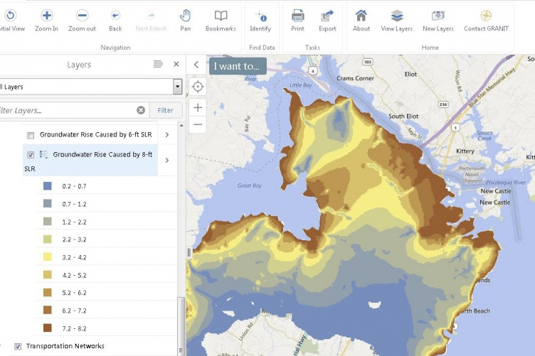 GIS map indicating groundwater rise due to sea level rise