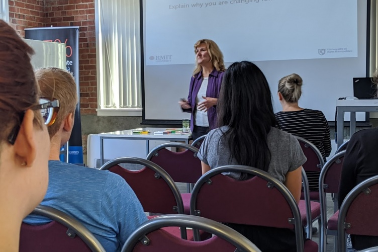 UNH Manchester professor Patricia Halpin lecturing