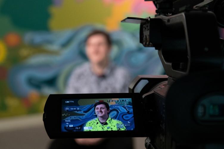student being filmed