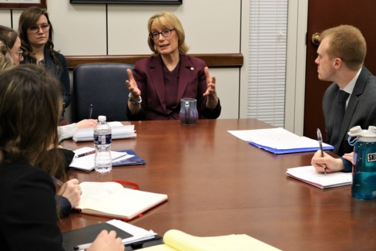 Sen. Hassan speaking with Master in Public Policy students from the Carsey School.