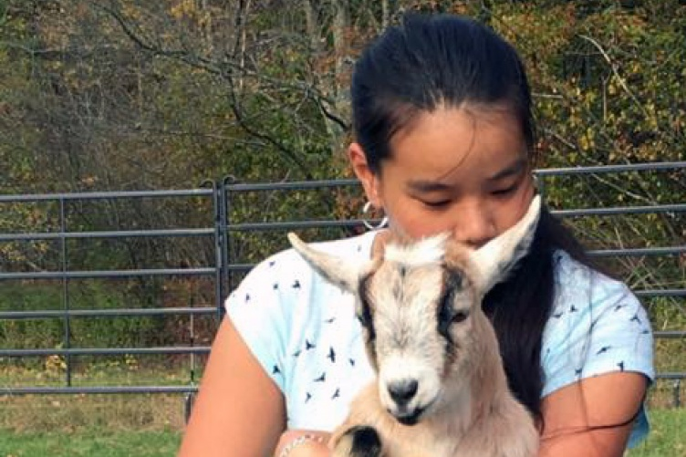 Margaret Frye '20 huggin goat