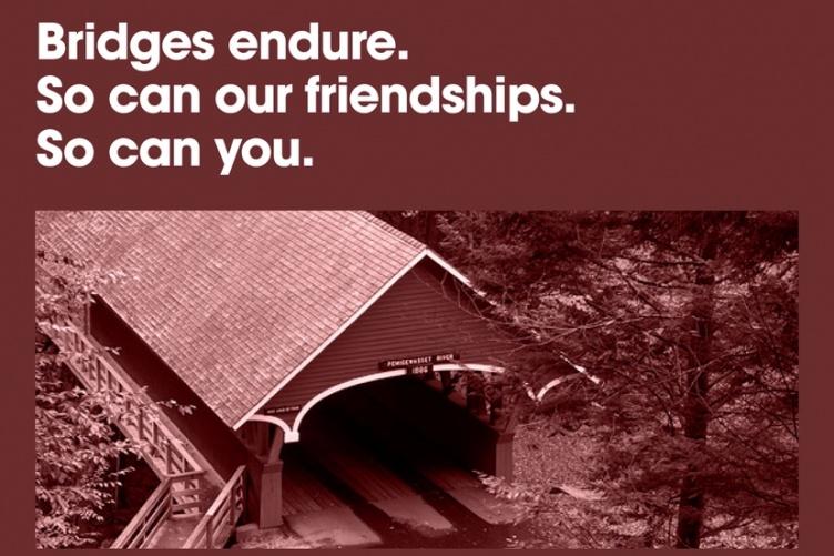 Bridges Endure text above a covered bridge
