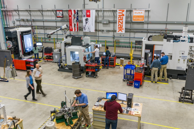 Overhead shot of manufacturing training center at UNH