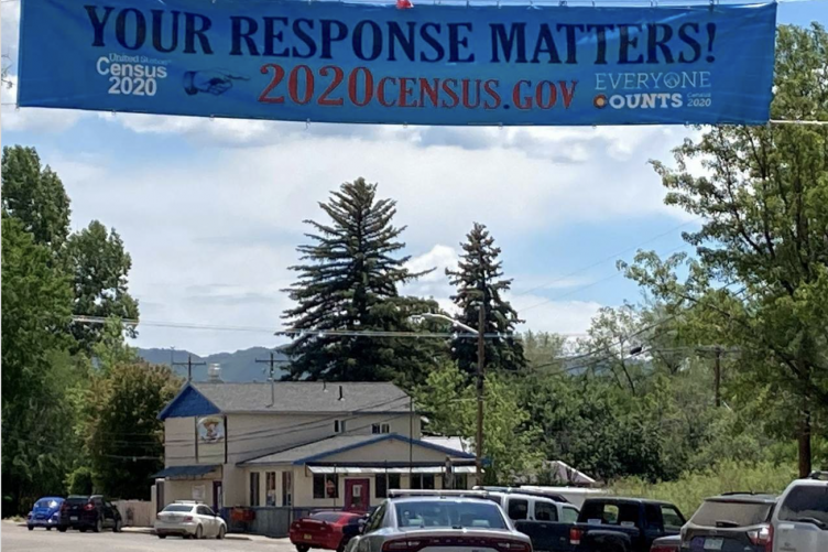 Banner hanging in Bayfield, NH promoting the Census