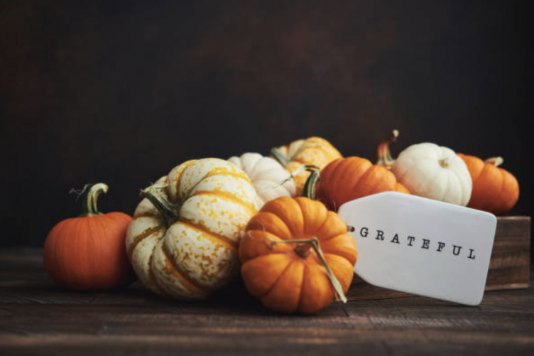 "An array of pumpkins sits on top of a table with a sign that says ""grateful"""