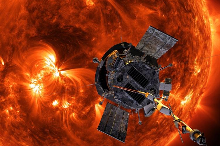 Illustration of the Parker Solar Probe near the sun.