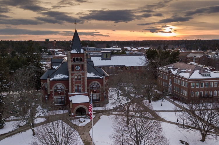 Aerial imge of University of New Hampshire campus in winter