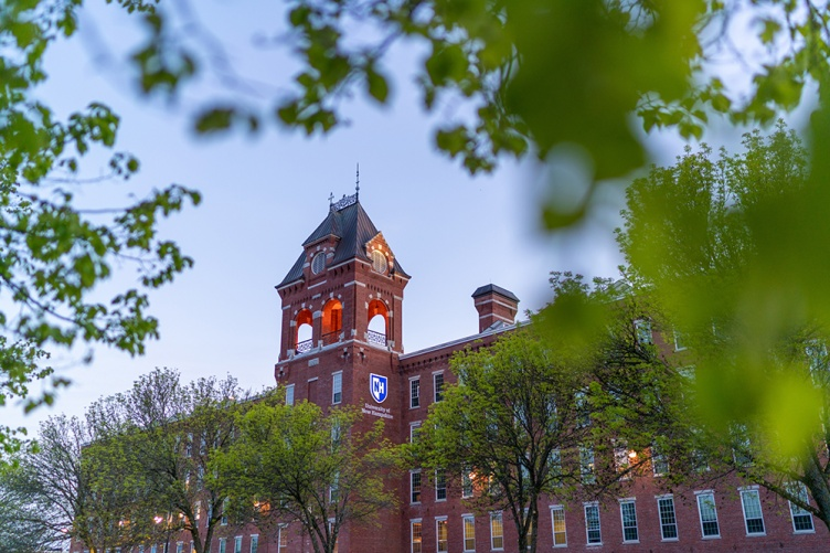 University of New Hampshire at Manchester building in the spring