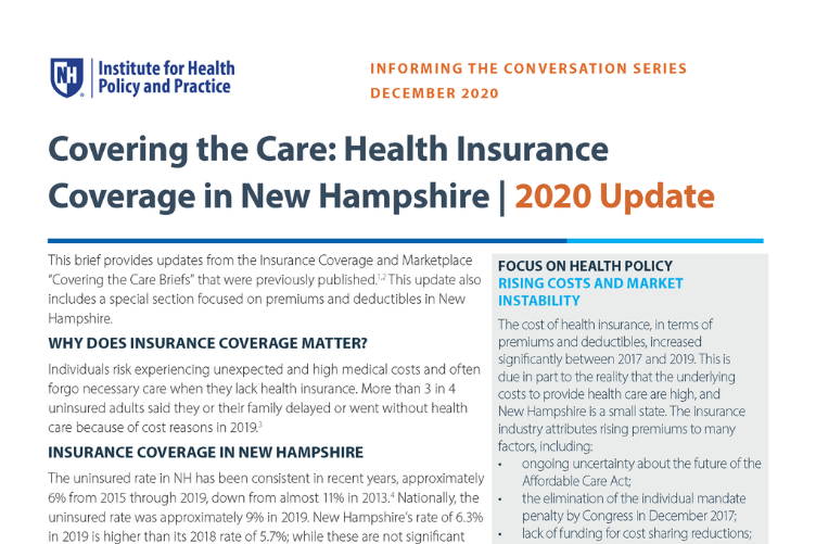 screenshot of page 1 of health insurance update brief