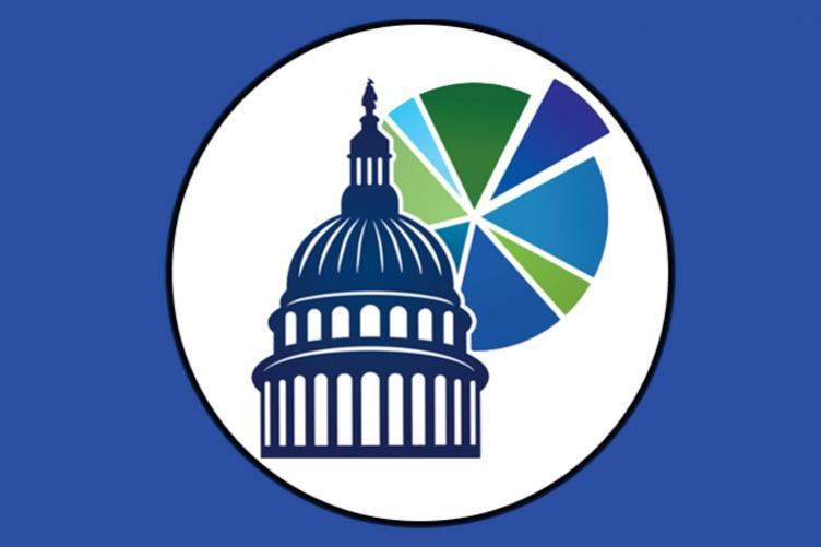 The fedgovspend spending app logo displayed on a blue background