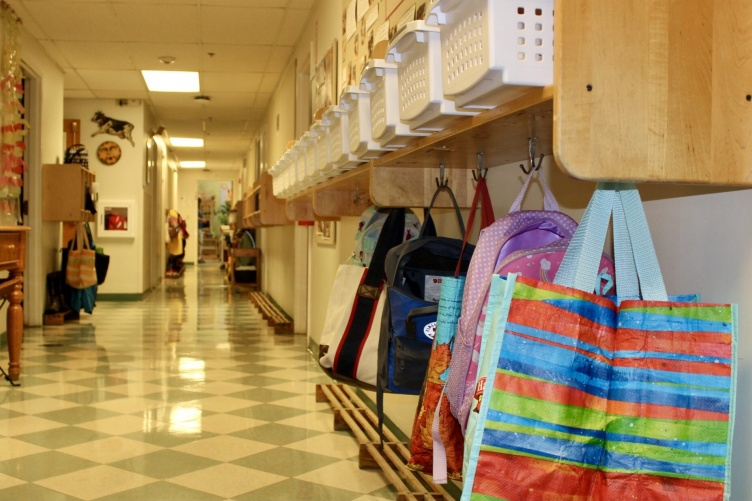 Image of School Hallway and Bags