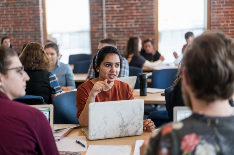 Students in class at UNH Manchester