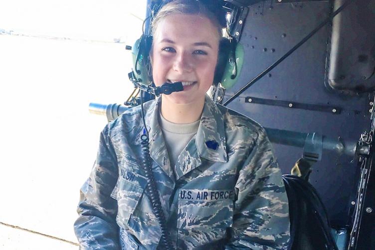 Virginia Walsh '21 sitting inside plane