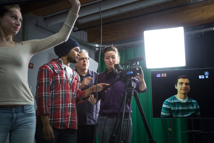 Communication Arts students use film equipment at UNH Manchester