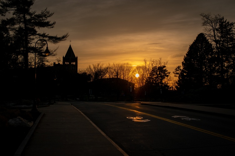 UNH campus sunset