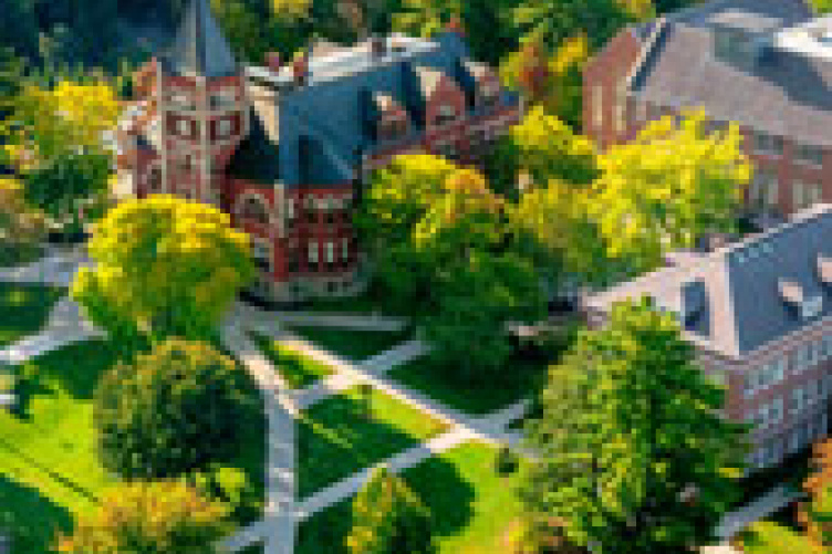 aerial view of t-hall