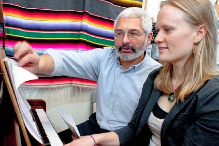 Molly McCahan and Professor Michael Annicchiarico during a theory lesson
