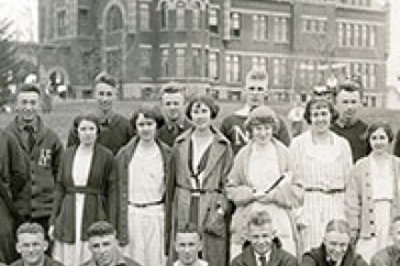 students in front of t-hall, one hundred years ago