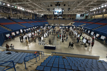 Overview of Whittemore Center with research posters
