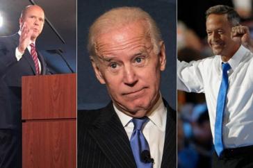 Rep. John Delaney, left; former Vice President Joe Biden, center; and former Maryland Gov. Martin O'Malley