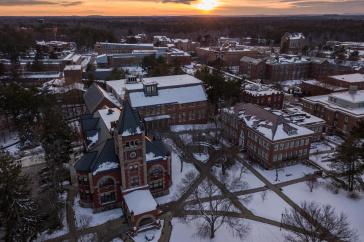 UNH campus at sunset after first snowfall of fall 2017 semester