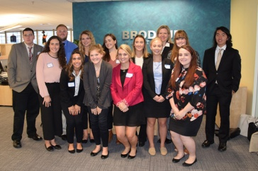 students and dean group at Brodeur Partners