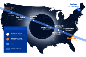 map of US showing where UNH faculty will be watching total eclipse