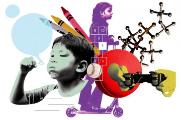 illustration of children playing and toys